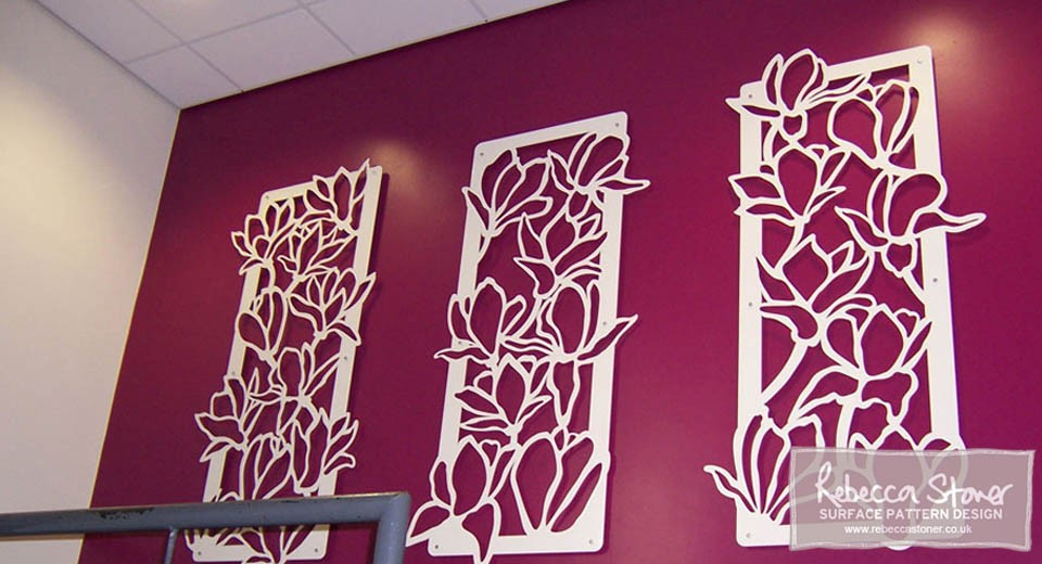 Lasercut Metal Panels by Rebecca Stoner