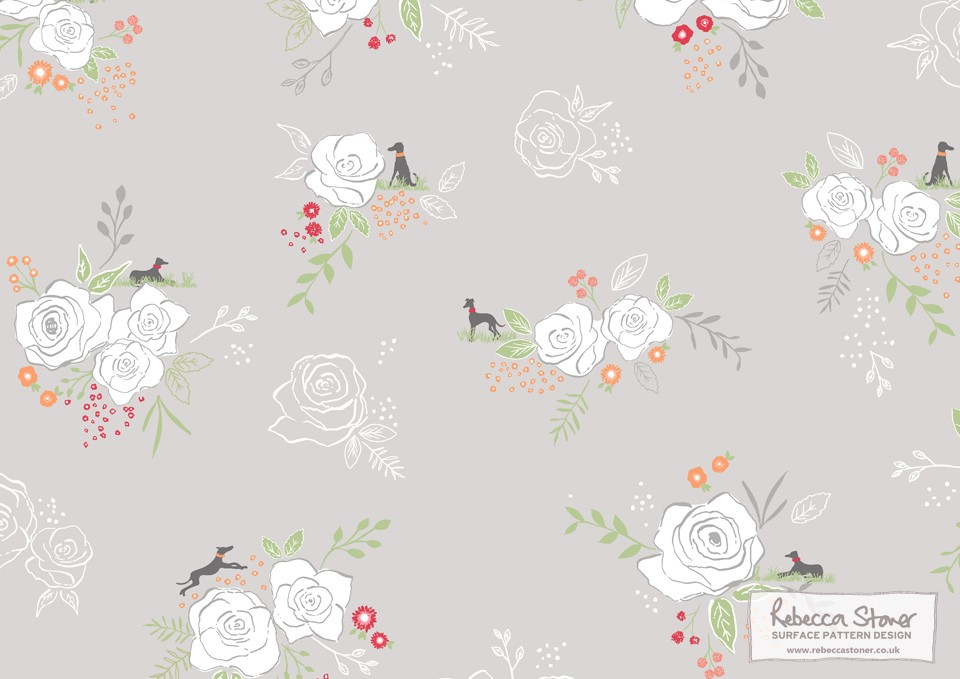 Whippets and Roses – Yorkshire Kimono by Rebecca Stoner