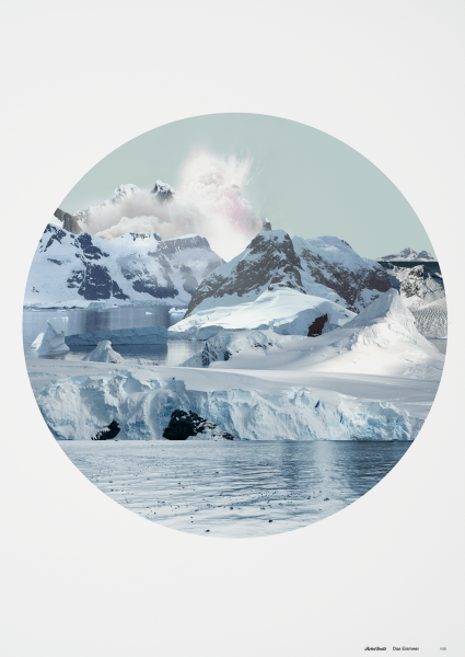 circular landscape with glaciers ice and snow fine art print