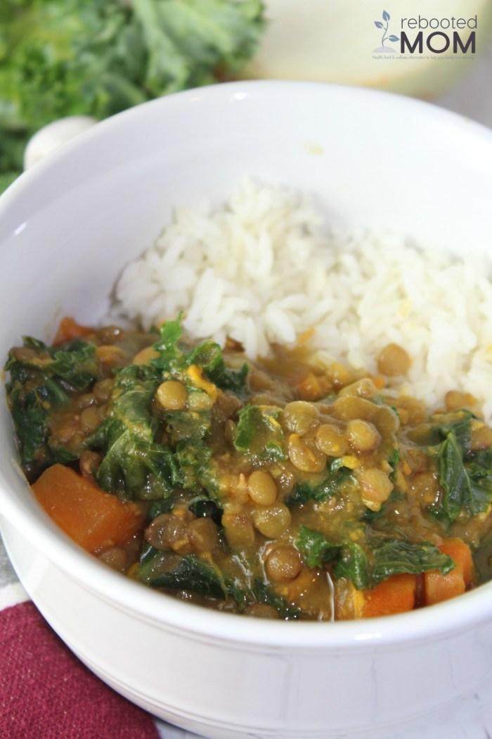 Sweet Potato, Lentil & Kale Soup