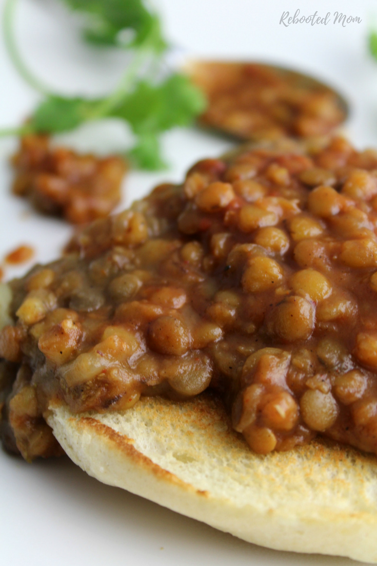 Hearty green lentils wrapped in a rich and smoky barbecue sauce that's delicious served over baked potatoes or on toasted bread. Barbecue lentils are vegan, gluten free and dairy free.
