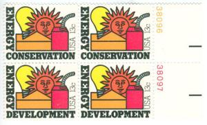 Earth day, energy conservation stamp from the 1970s