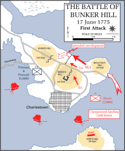 The attack was supposed to work this way: a sea landing at Moulton's hill. two side actions, SA, at the fronts of the Colonial defenses, and a sweeping main attack, MA, at the edge.