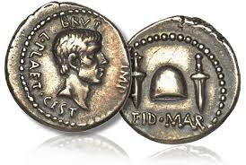 "Brutus on the face side of an Eids March coin, with two daggers and the legend ""Eid Mar"" on the obverse. Clearly the conspirators were proud of their act"