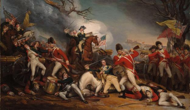 General Mercer defeated at Princeton, as Washington shows up.