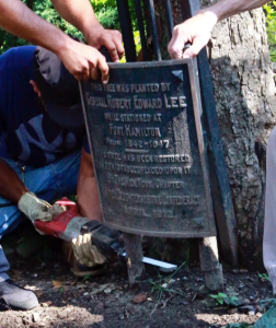General Lee planted a maple tree on this spot in Fort Hamilton, New York. in 2017 the  plaque is removed as it's considered offensive.