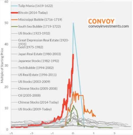 A comparison between Bitcoin prices, and those of tulips, 1929 stocks, and other speculative bubbles; multiple of original price vs year from peak.