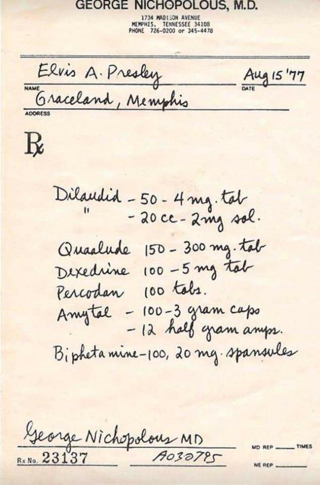 Elis prescription, August 1977. Opioid city.