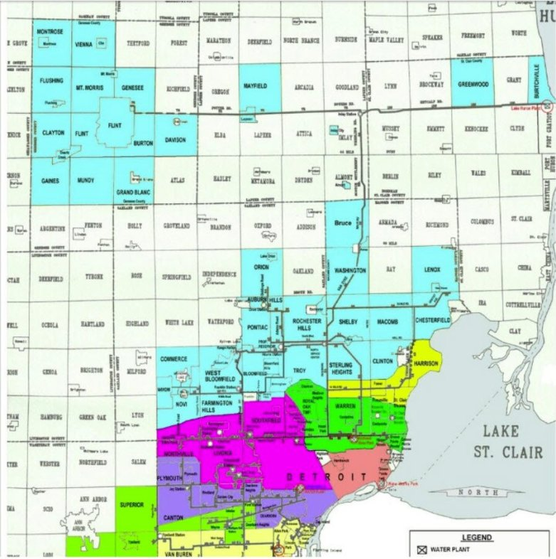 Map of the main drinking-water pipes serving south-east Michigan
