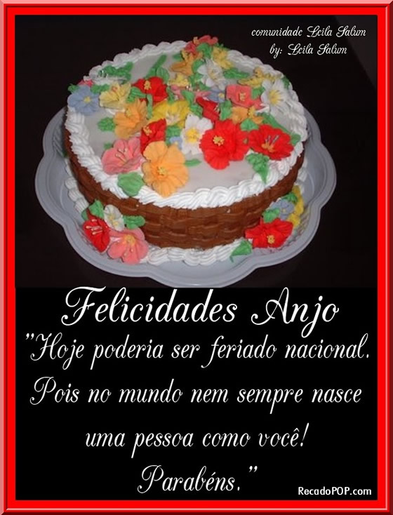 Recado Facebook Felicidades anjo