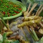 Légumes & condiments (galanga et piments) - étal de marché en Thaïlande