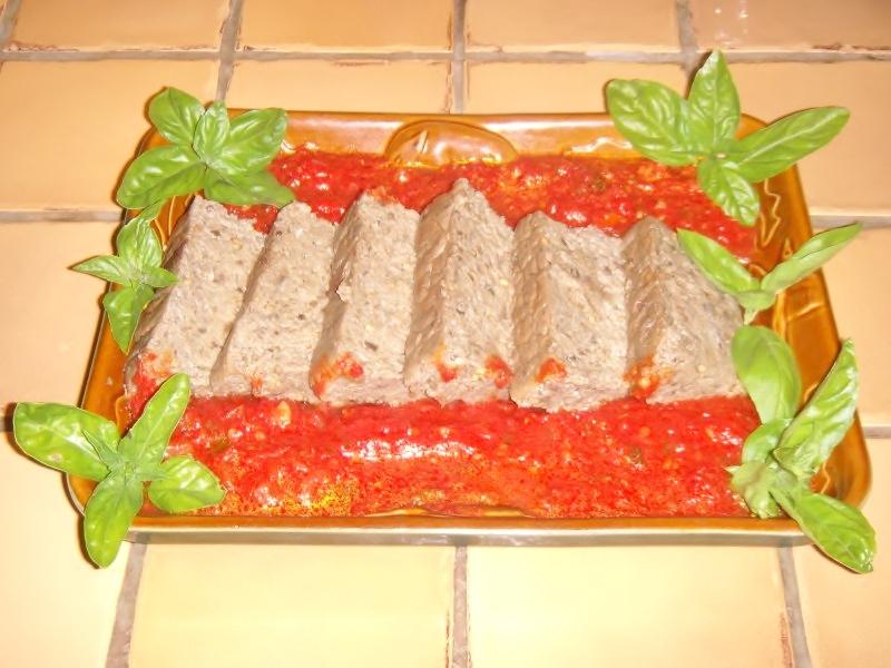 Papeton d'aubergine et son coulis de tomates