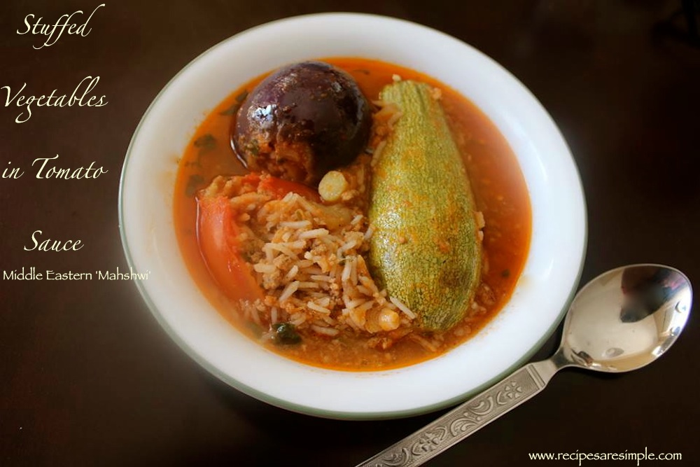 Mahshi Stuffed Vegetables in Tomato Sauce