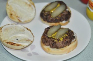 home made beef burger - pickle