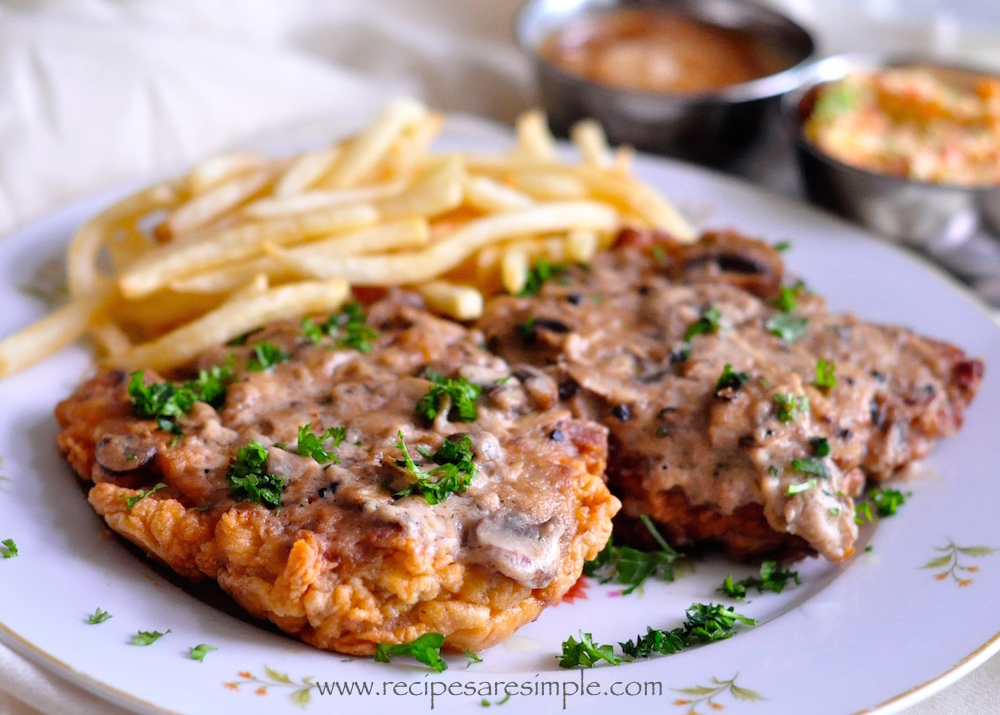 western chicken chops with mushroom sauce recipe