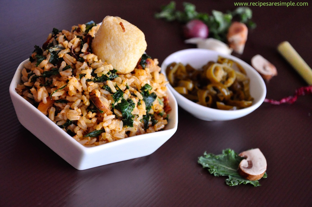 kale fried rice with mushroom