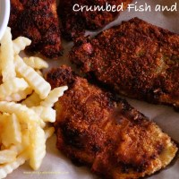 crumbed fish and chips