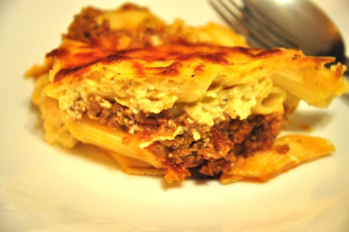 greek pastitsio - heres a serving