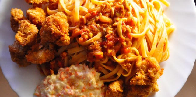 chicken cutlet spaghetti or linguine