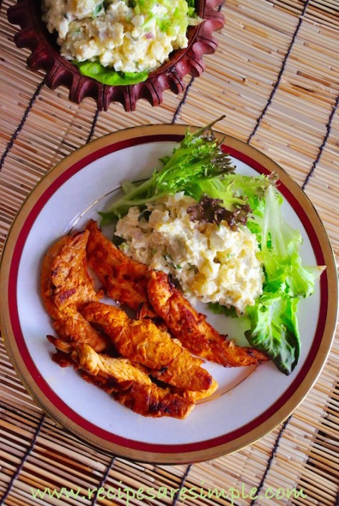 smoky grilled chicken tenders with potato salad dinner