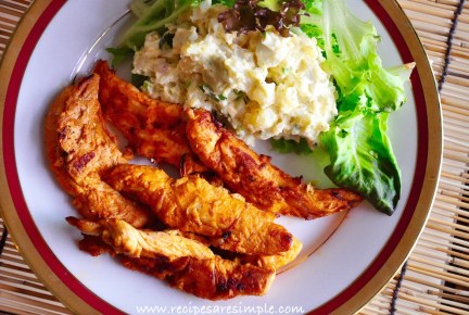 smoky grilled chicken tenders with potato salad meal