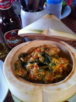And the dish I had been waiting for - Amok, or Amok Trey. This is a fragrant, non-spicy fish curry, and perhaps Cambodia's most well-known dish.