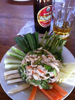 My actual lunch consisted of this yumminess. Smoked chicken salad cooked in banana leaf.