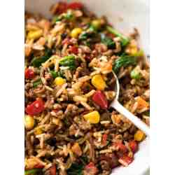 Small Crop Of Ground Beef And Rice Recipes Skillet
