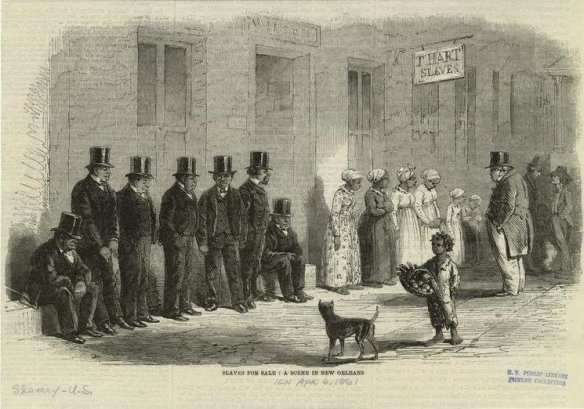 Slaves for sale in New Orleans, NYPL via Wikipedia