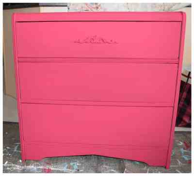 a vintage dresser painted in Decoart Chalk Finish Paint in Romance