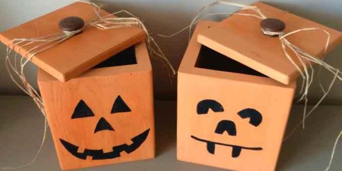 Wood Canisters Turned Jack-O-Lanterns