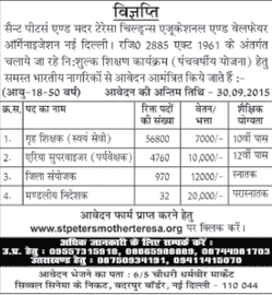 St Peters and Mother Teresa Recruitment 2015 for 62565 Various Posts