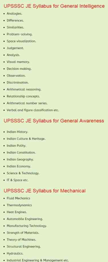 UPSSSC JE Previous Papers   Mechanical Syllabus Exam Pattern