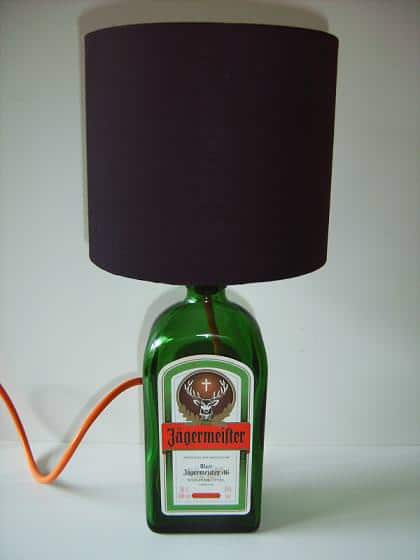 PICT0512 2 Jagermeister bottle lamp in lights glass  with Light Lamp Bottle