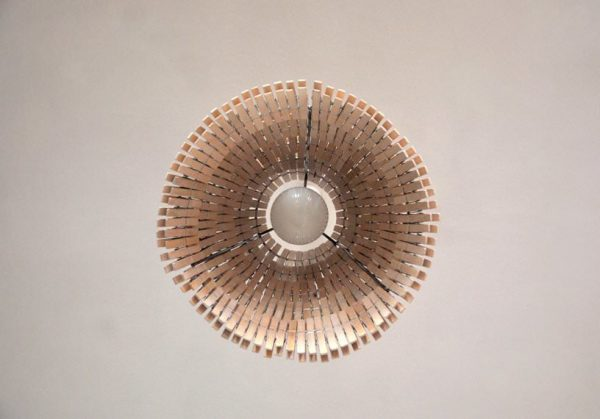Clothespin pendant lamp in lights  with Upcycled Recycled Lamp design