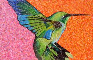 Suspended – #hummingbird #mosaic made with #recycled candy and drink labels