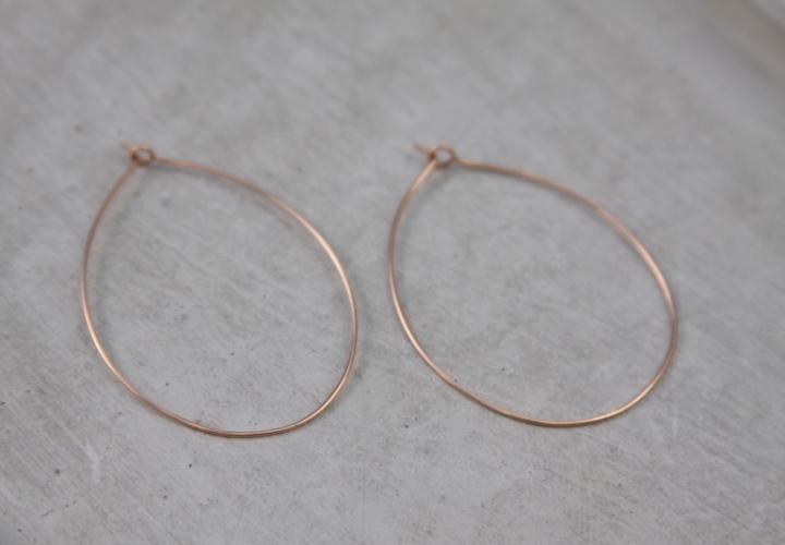 handmade rose gold hoops