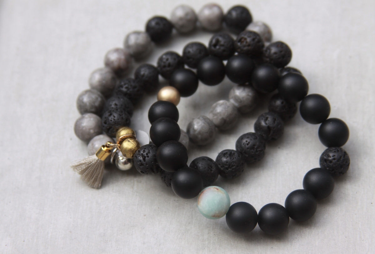 Black & Grey Beaded Bracelet Set