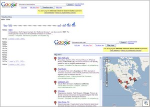 googletimeline thumb Google tests new search   timeline and map search adds more info