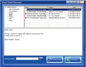 smartemailrecovery small Smart Email Recovery   freeware retrieves lost email messages
