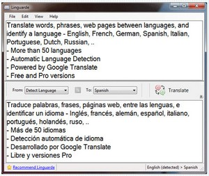 linguardetranslation small Linguarde Translation   freeware offers 50 language translation