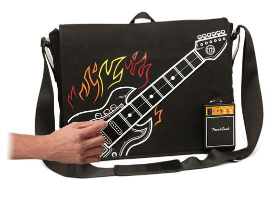 guitar bag ThinkGeeks Electronic Rock Guitar Bag goes to 11