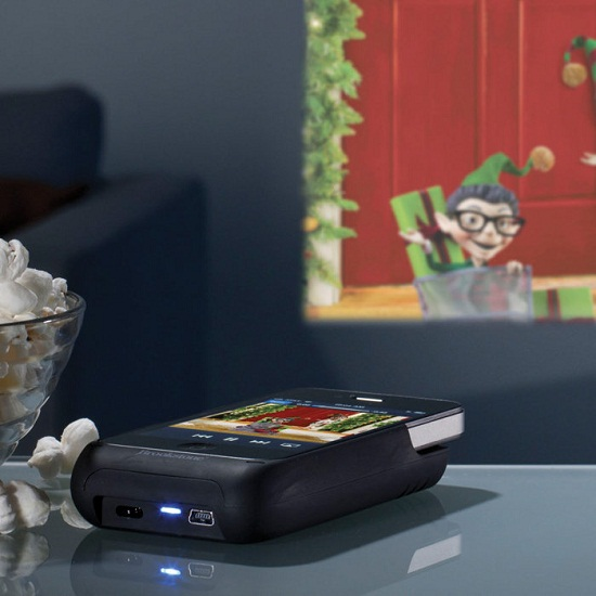 755165p Pocket Projector produces a 50 inch display from your iPhone