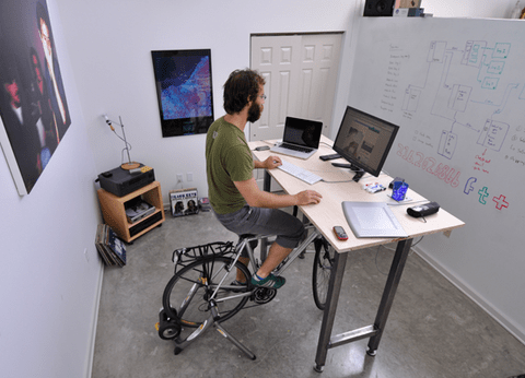 KFOverview 600px large Kickstand desk lets you bike while you work