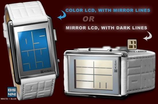 blue or mirror lcd watch Kisai Stencil watch makes you read between the lines