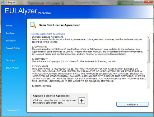 eulalyzer2 EULAlyzer is a powerful weapon in the fight against unfair software fine print [Freeware]