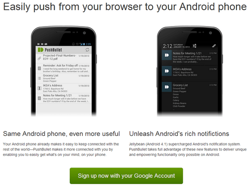 pushbullet PushBullet   instantly move stuff from your computer browser to your Android phone [Freeware]