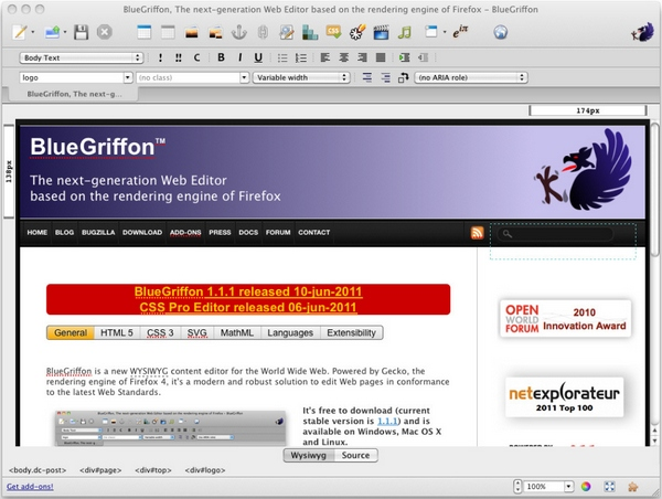 bluegriffon BlueGriffon   open source web editor is a great tool for both beginners and experts [Freeware]