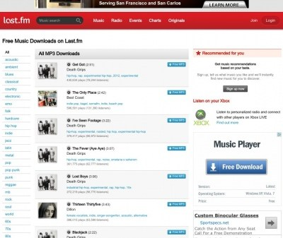 +free music downloads Last FM Downloads