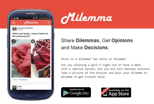 milemma2 Milemma   free smartphone app helps you make decisions using the power of the crowd [Freeware]